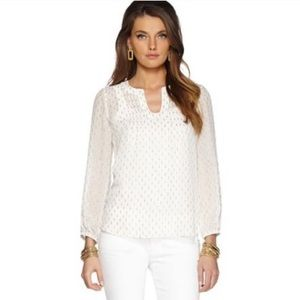 Lilly Pulitzer Colby Pintuck Gold Sheer Bl…
